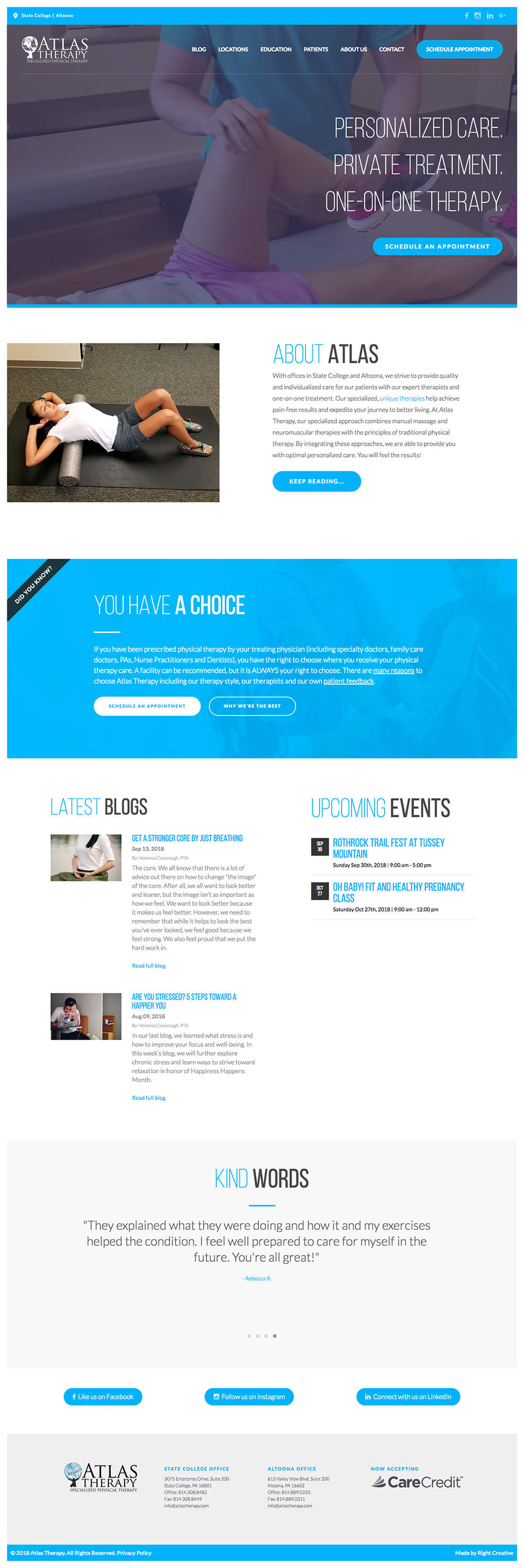 Full page screenshot of the Atlas Therapy website.